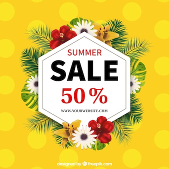 Yellow bokeh summer sale background