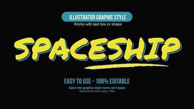 Yellow bold brush editable text effect Premium Vector