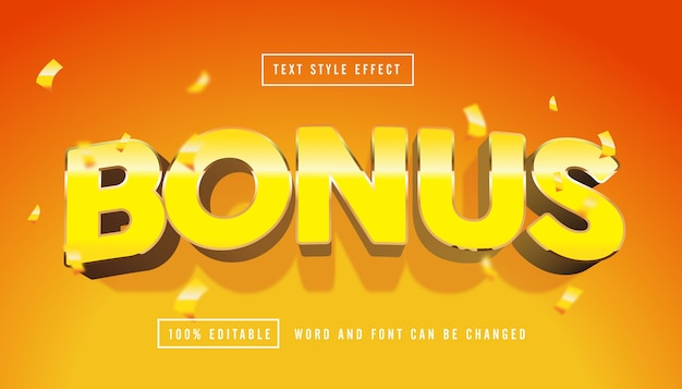 Yellow bonus text effect editable