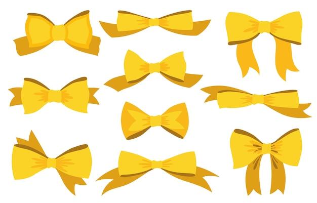 黄色の弓セット。漫画のスタイル。分離されたリボン付きの弓。