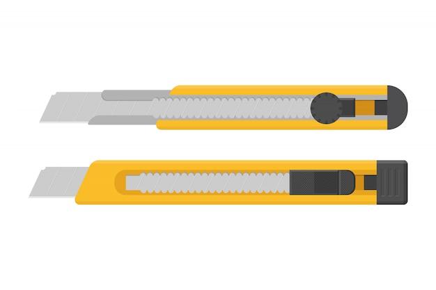 흰색 배경에 고립 된 노란색 상자 커터 그림
