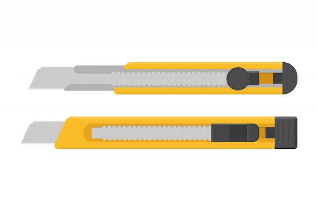 Yellow box cutter illustration isolated on white background