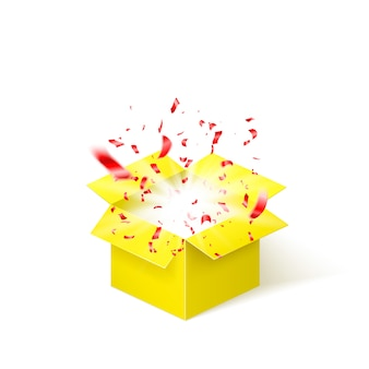 Yellow box with red confetti. surprise box isolated on white background