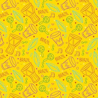 노란색 브라질 카니발 패턴