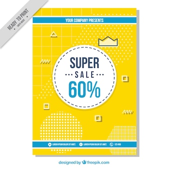 Yellow brochure with geometric shapes of super sales