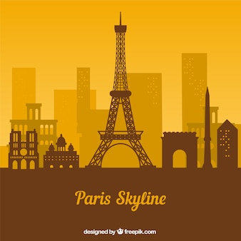 Yellow and brown skyline of paris
