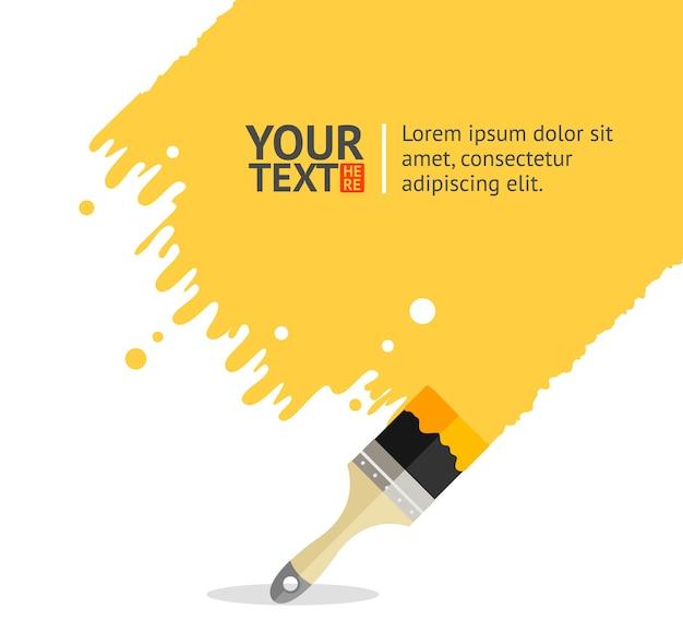 あなたのテキストのための場所と黄色のブラシの背景