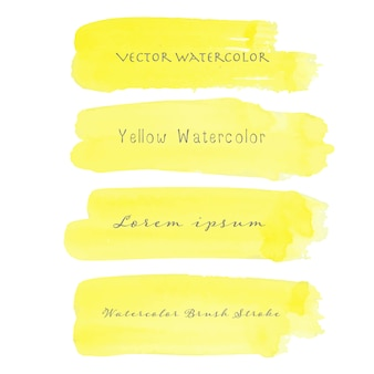 Yellow brush stroke watercolor on white background