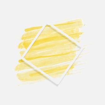 사각형 프레임 라인 배경이 있는 노란색 브러시입니다. 벡터 일러스트 레이 션. 추상적인 배경입니다.