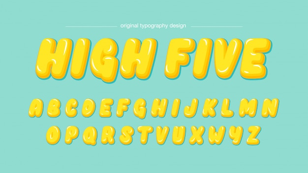 Yellow bubble cartoon typography