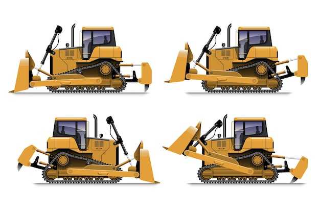 Yellow bulldozer side view in different action, isolated on white background.