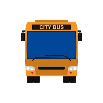Yellow bus front view vector vehicle illustration. transportation travel isolated public car icon.