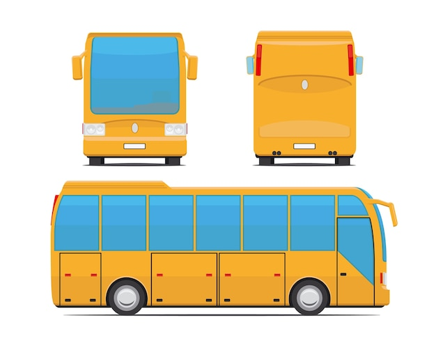 노란색 버스 후면, 전면 및 측면. 코치 및 여행, 여행 및 교통. 벡터 일러스트 레이 션
