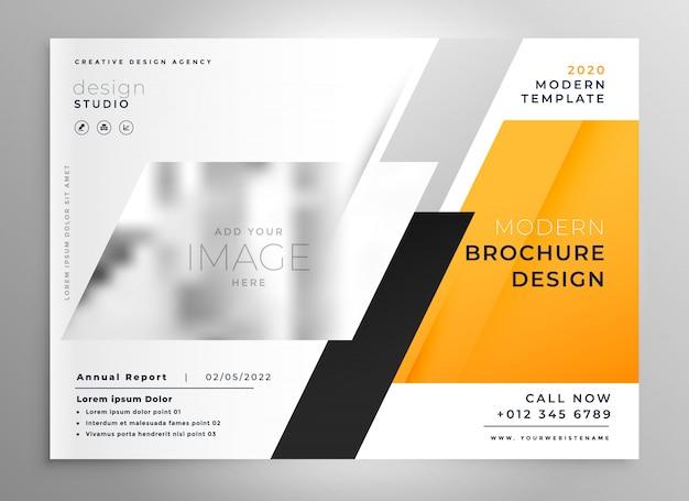 黄色のビジネスパンフレットのプレゼンテーションテンプレート
