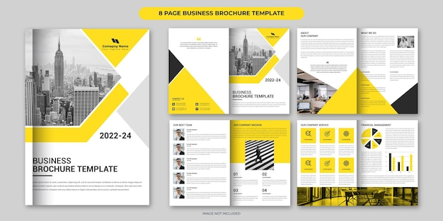 Yellow business brochure template design 8 page corporate brochure layout minimal business brochure