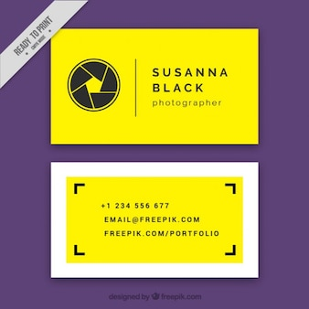 Yellow business card, minimal style