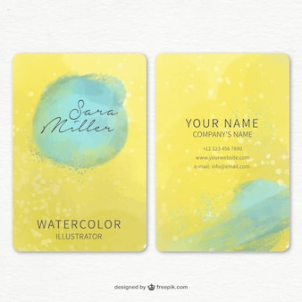 Yellow business card with blue stains