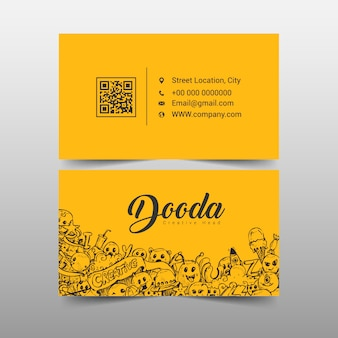 Yellow business card with cartoons