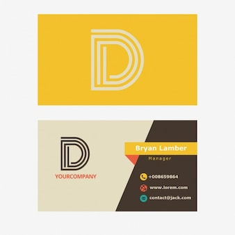 Yellow business card with d letter logo