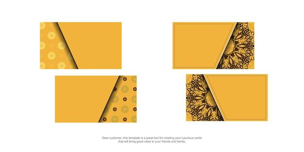 Желтая визитка с индийским коричневым узором для вашей личности.