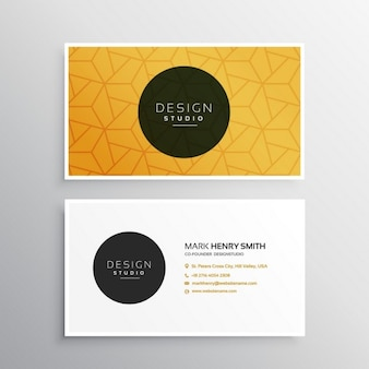 Yellow business card with ornaments