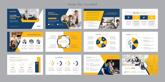 노란색 비즈니스 슬라이드 프레젠테이션 템플릿.