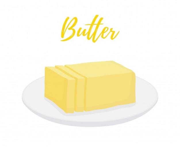 Yellow butter bar with slices on plate