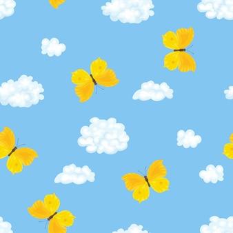 黄色い蝶、青い空と雲のシームレスなパターン。