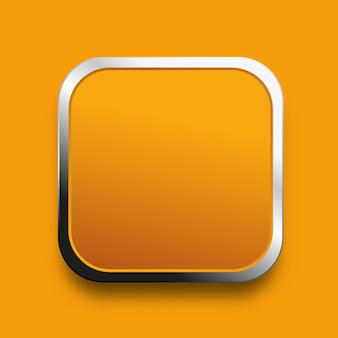 Yellow button template with metal frame on orange background