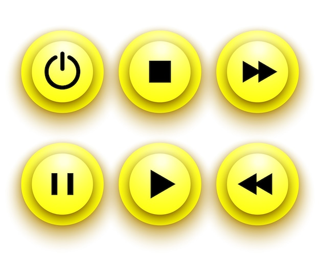 Yellow buttons for player: stop, play, pause, rewind, fast forward, power.  illustration.