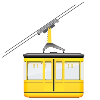 Yellow cableway in high mountains at winter season.