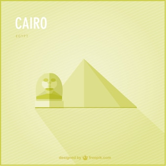 Yellow cairo background with a pyramid