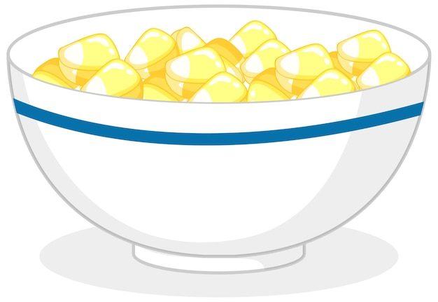 Yellow candies or gummies in a bowl isolated
