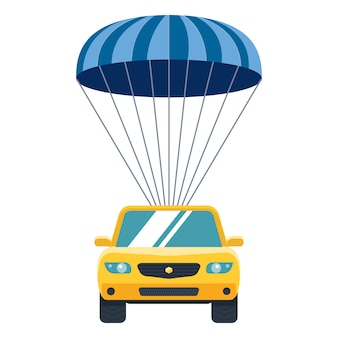Yellow car descends from heaven to earth by parachute. property insurance.
