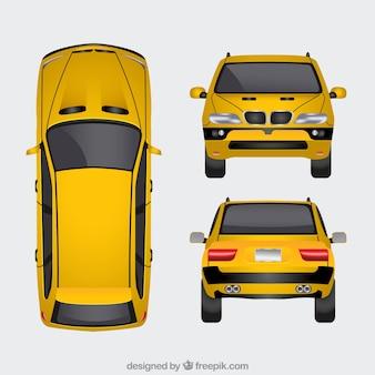 Желтый автомобиль с разными видами