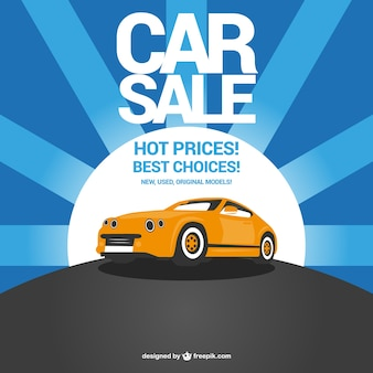 Yellow car on sale and blue sunburst