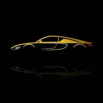Yellow car silhouette with reflection on black background.