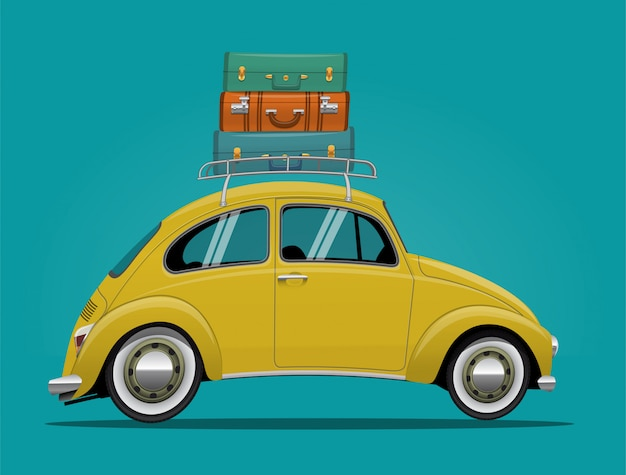 Yellow car, vintage cartoon retro car with luggage on the roof.