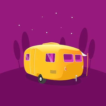 Yellow caravan parked under a starry night sky