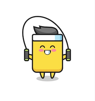 Yellow card character cartoon with skipping rope , cute style design for t shirt, sticker, logo element