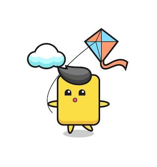 イエローカードのマスコットイラストが凧を弾いている、tシャツ、ステッカー、ロゴ要素のかわいいスタイルのデザイン