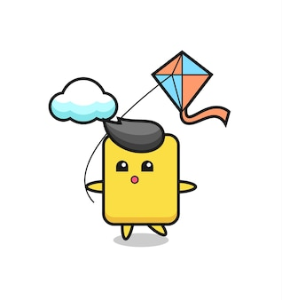 Yellow card mascot illustration is playing kite , cute style design for t shirt, sticker, logo element