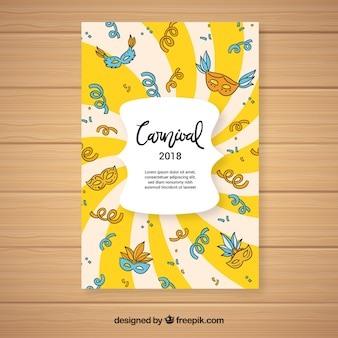 Yellow carnival party flyer template