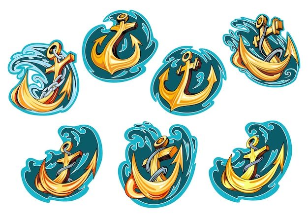 Yellow cartooned anchors on blue ocean waves with chains and ropes for marine emblems or logo design