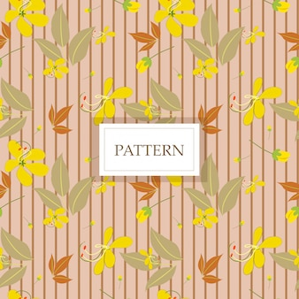 Yellow cassia flower with brown line seamless pattern/background