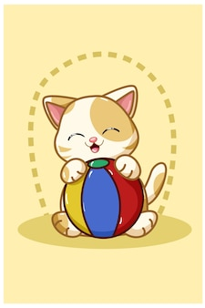 A yellow cat bring a ball illustration