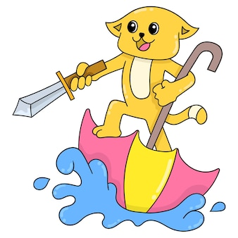 A yellow cat playing pirate holding a sword riding an upside down umbrella boat, vector illustration art. doodle icon image kawaii.