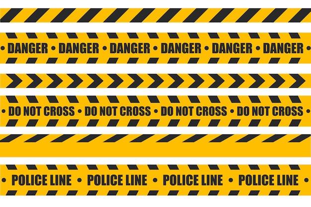 黄色の注意テープは、テキストが記載されたセキュリティラインを設定します