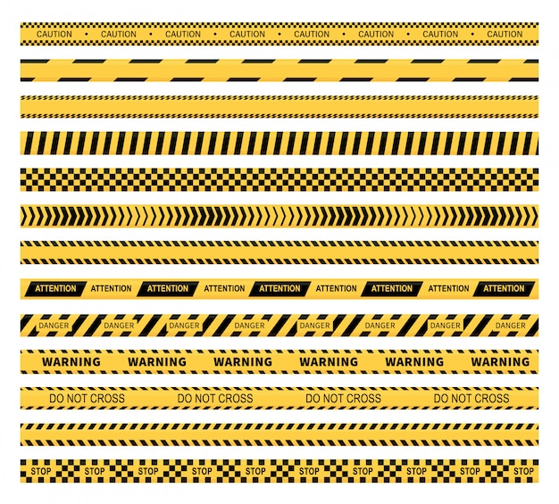 Yellow caution tapes and warning lines