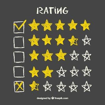 Concetto di valutazione a stelle lavagna gialla